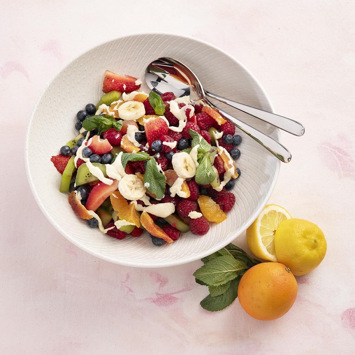 Fruitsalade met Vanille dressing
