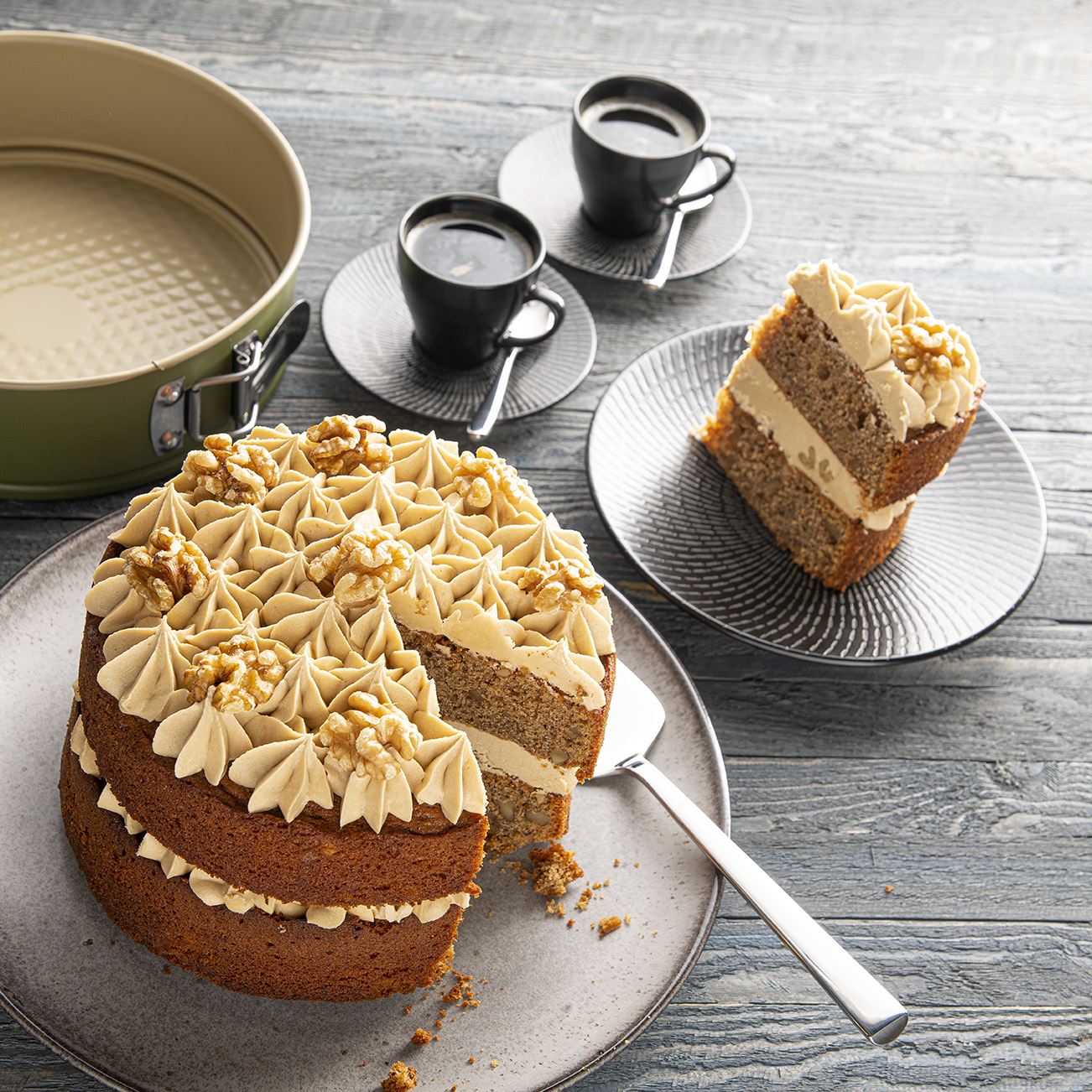 Walnoten koffie taart